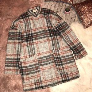 Jolt | Juniors Oversized Notched Collar Plaid Coat